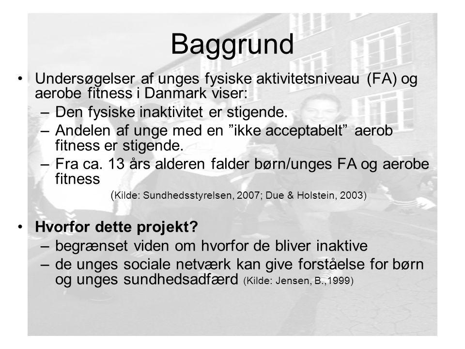 Baggrund Undersøgelser af unges fysiske aktivitetsniveau (FA) og aerobe fitness i Danmark viser: Den fysiske inaktivitet er stigende.