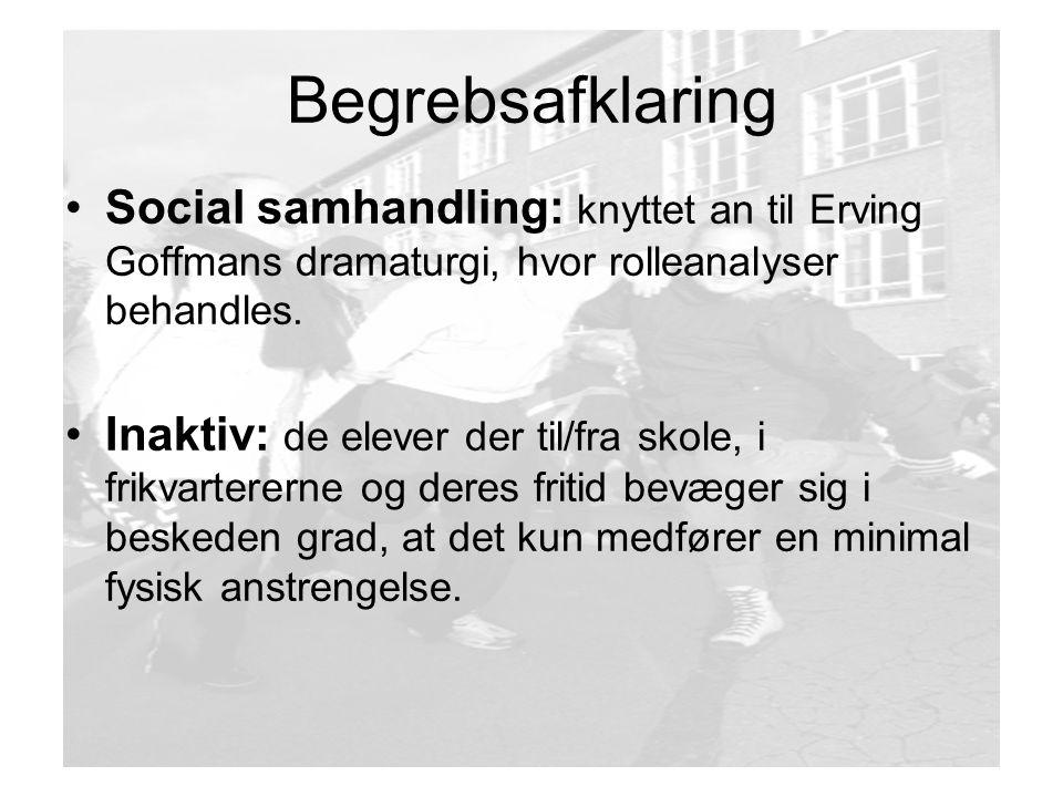 Begrebsafklaring Social samhandling: knyttet an til Erving Goffmans dramaturgi, hvor rolleanalyser behandles.