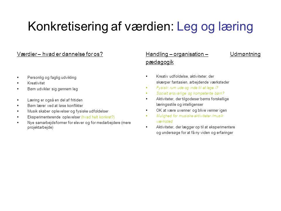 Konkretisering af værdien: Leg og læring