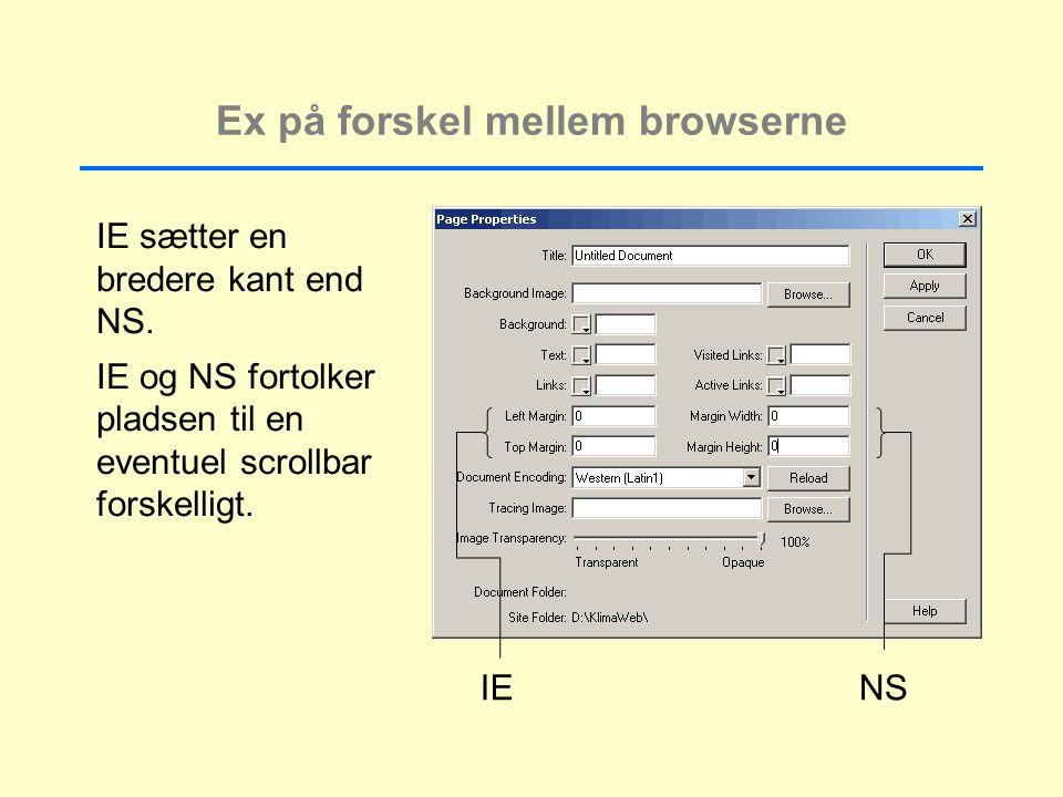 Ex på forskel mellem browserne