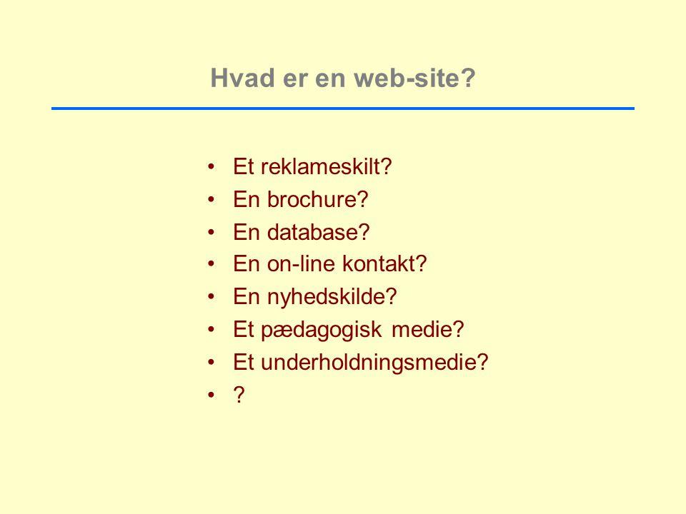 Hvad er en web-site Et reklameskilt En brochure En database