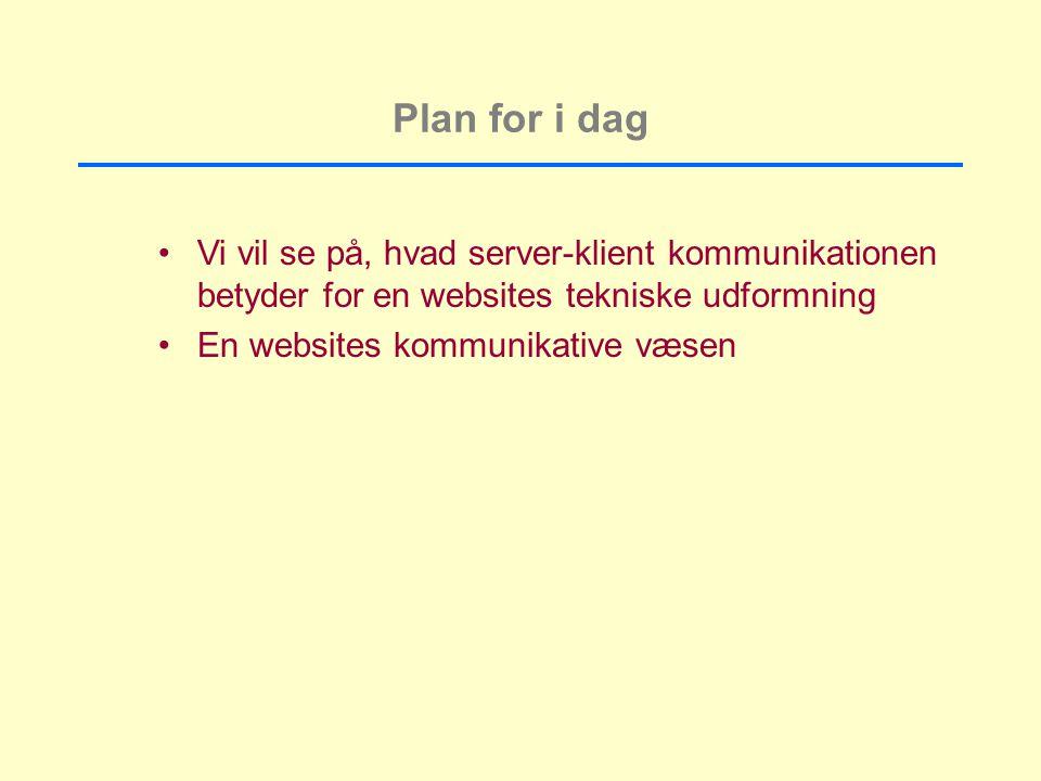 Plan for i dag Vi vil se på, hvad server-klient kommunikationen betyder for en websites tekniske udformning.