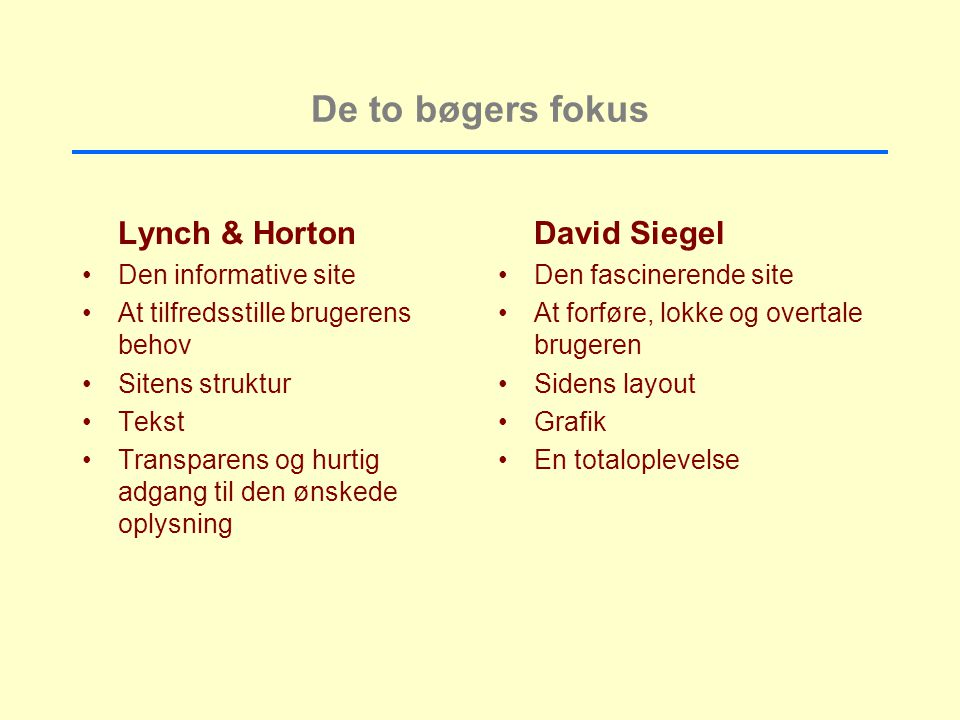 De to bøgers fokus Lynch & Horton David Siegel Den informative site