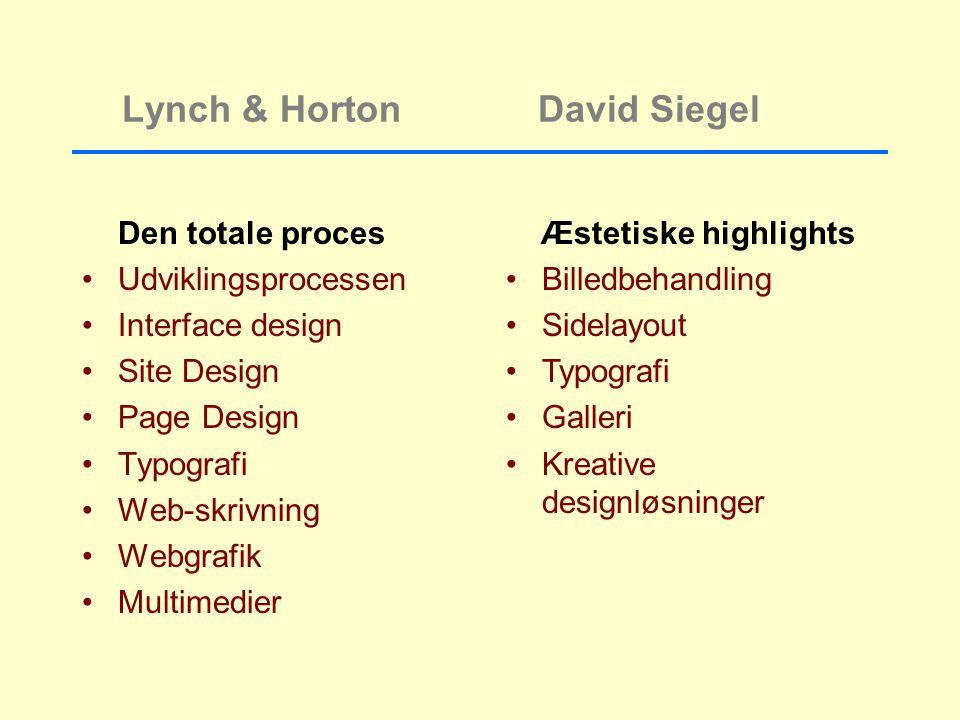 Lynch & Horton David Siegel Den totale proces Udviklingsprocessen