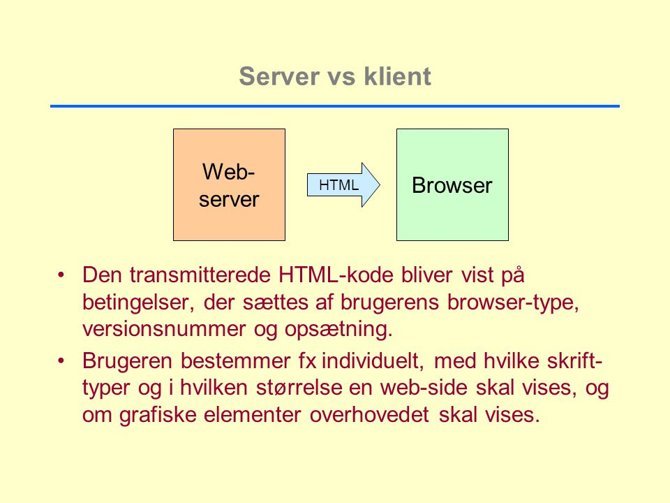 Server vs klient Web- Browser server