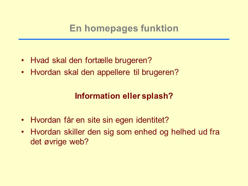 Information eller splash