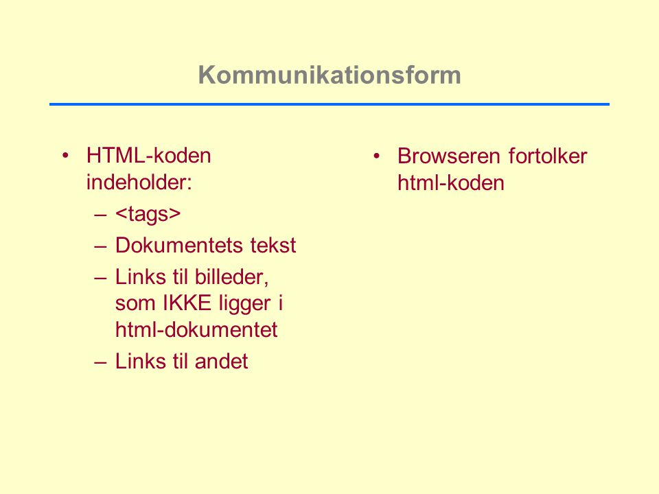 Kommunikationsform HTML-koden indeholder: