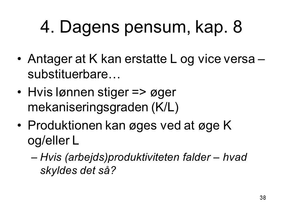 4. Dagens pensum, kap. 8 Antager at K kan erstatte L og vice versa – substituerbare… Hvis lønnen stiger => øger mekaniseringsgraden (K/L)