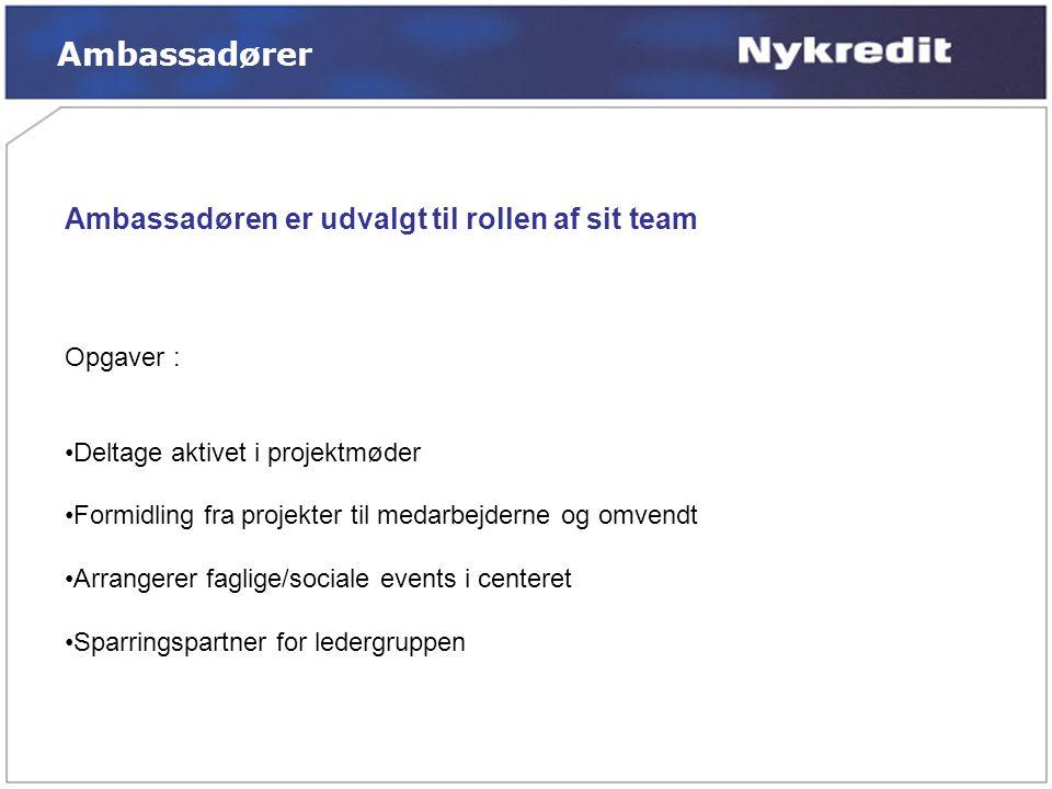 Ambassadører Ambassadøren er udvalgt til rollen af sit team Opgaver :