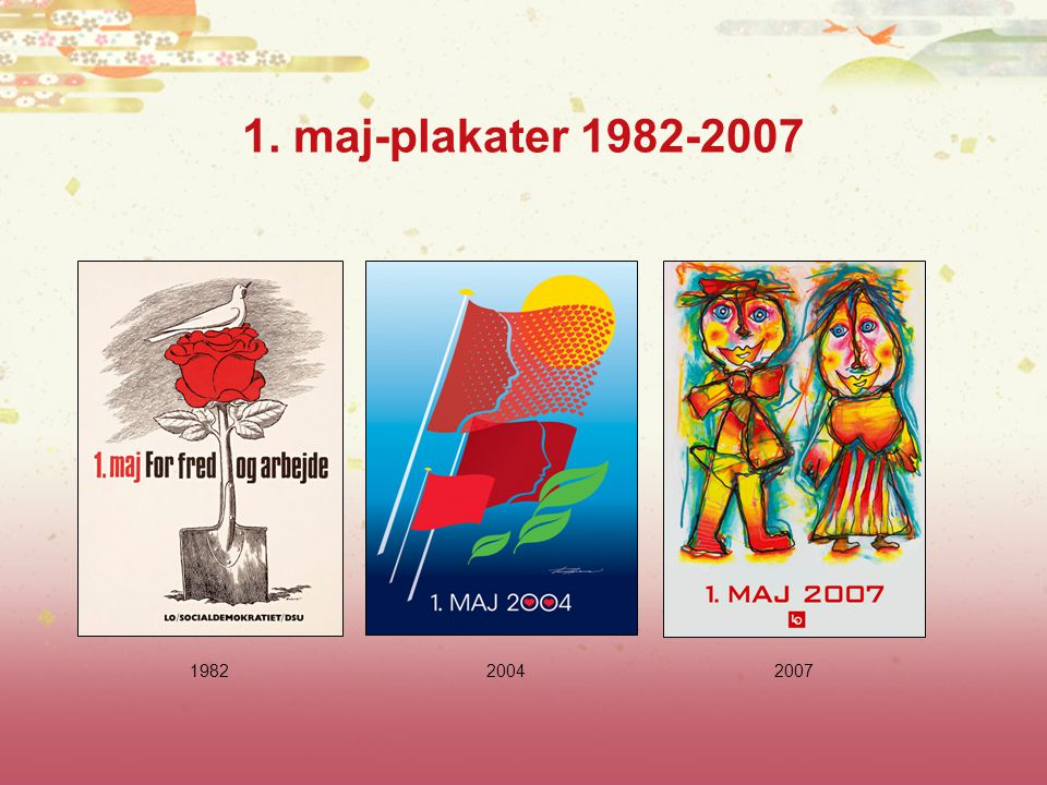 1. maj-plakater 1982-2007 1982 2004 2007
