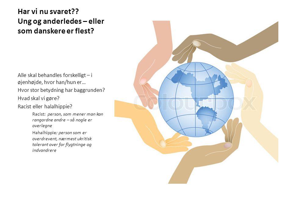 Har vi nu svaret Ung og anderledes – eller som danskere er flest