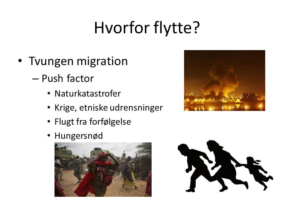 Hvorfor flytte Tvungen migration Push factor Naturkatastrofer