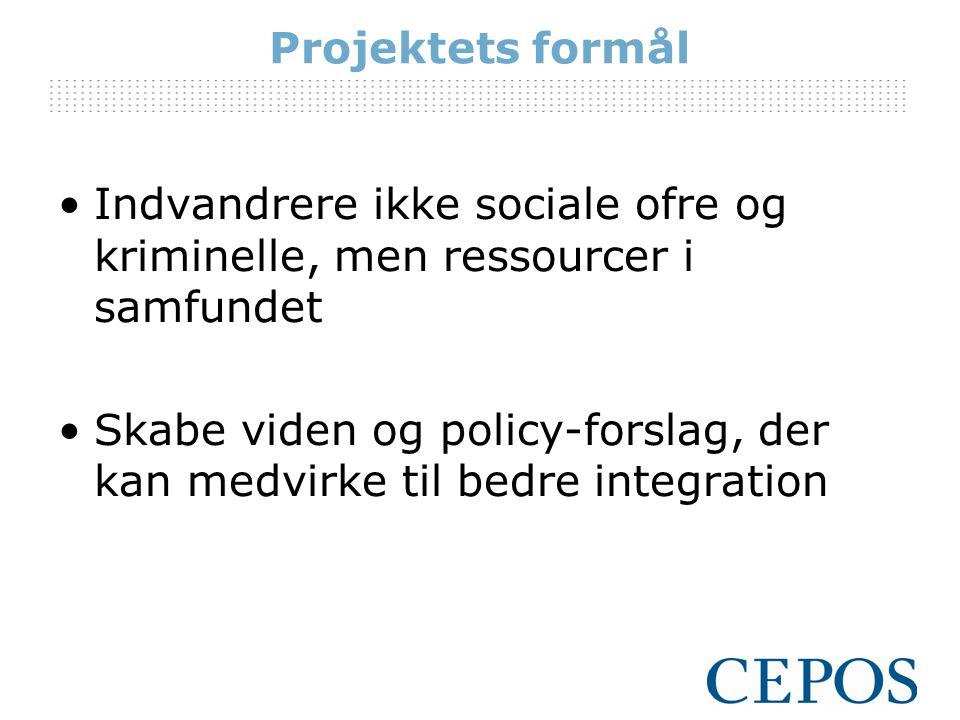 Projektets formål Indvandrere ikke sociale ofre og kriminelle, men ressourcer i samfundet.