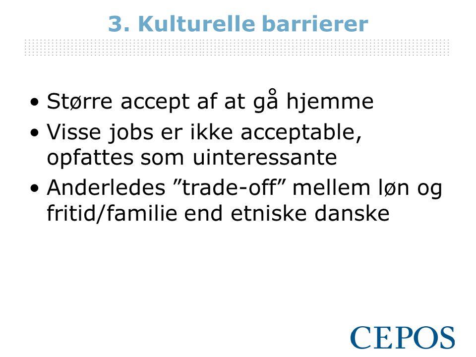 3. Kulturelle barrierer Større accept af at gå hjemme. Visse jobs er ikke acceptable, opfattes som uinteressante.