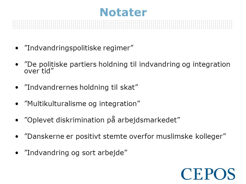 Notater Indvandringspolitiske regimer