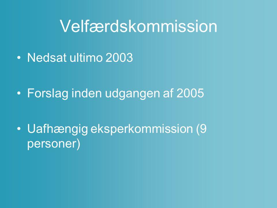 Velfærdskommission Nedsat ultimo 2003 Forslag inden udgangen af 2005