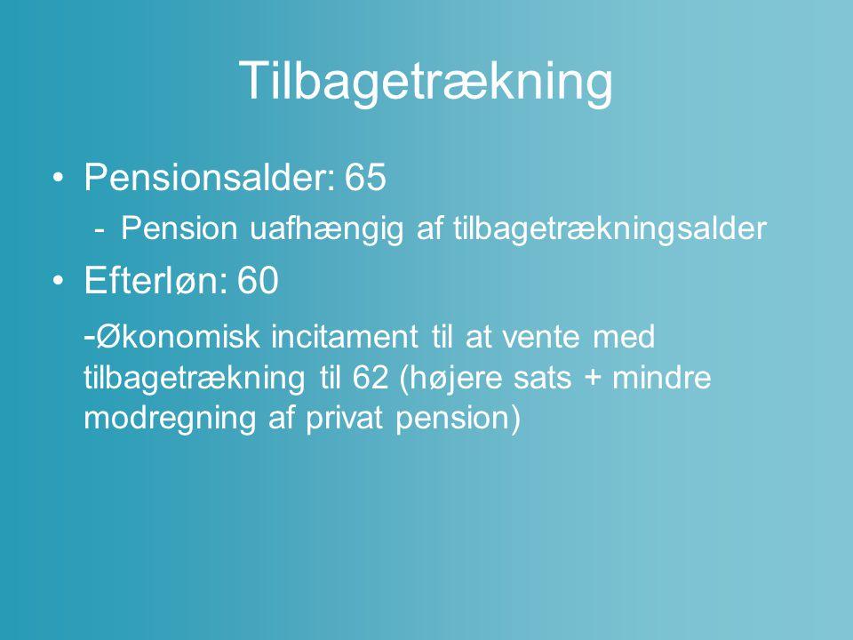 Tilbagetrækning Pensionsalder: 65 Efterløn: 60