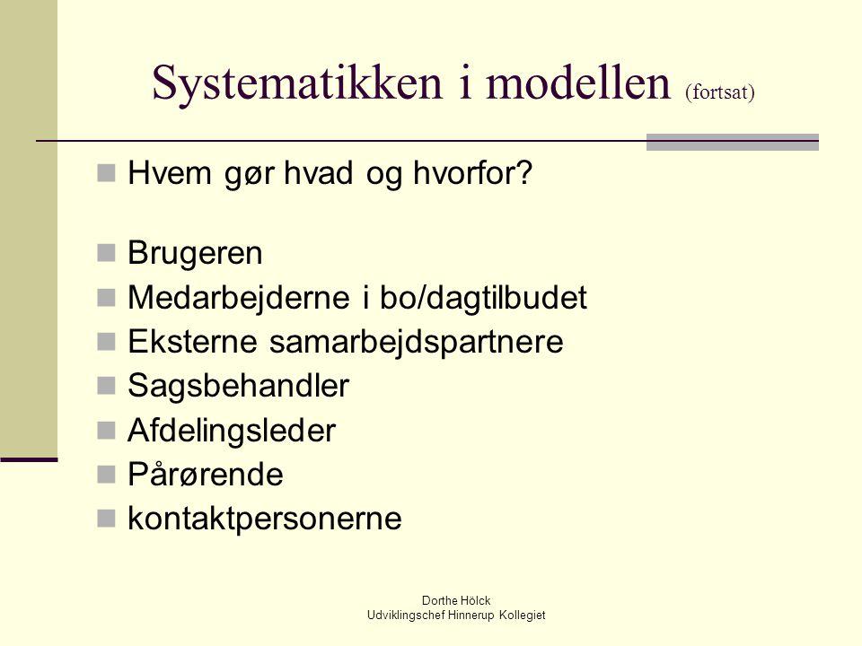 Systematikken i modellen (fortsat)