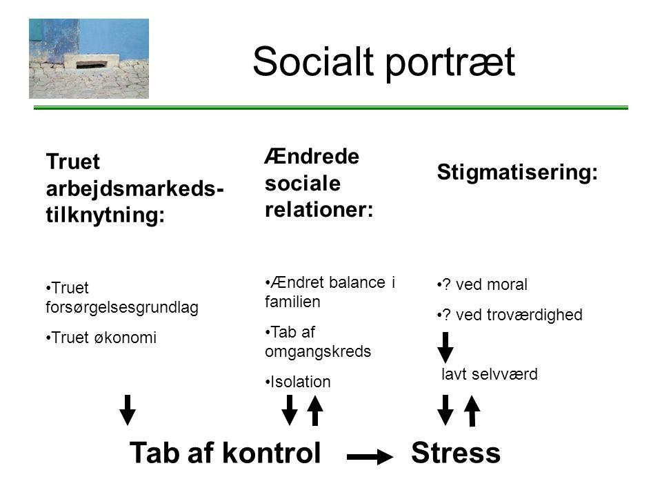 Socialt portræt Tab af kontrol Stress Ændrede sociale relationer: