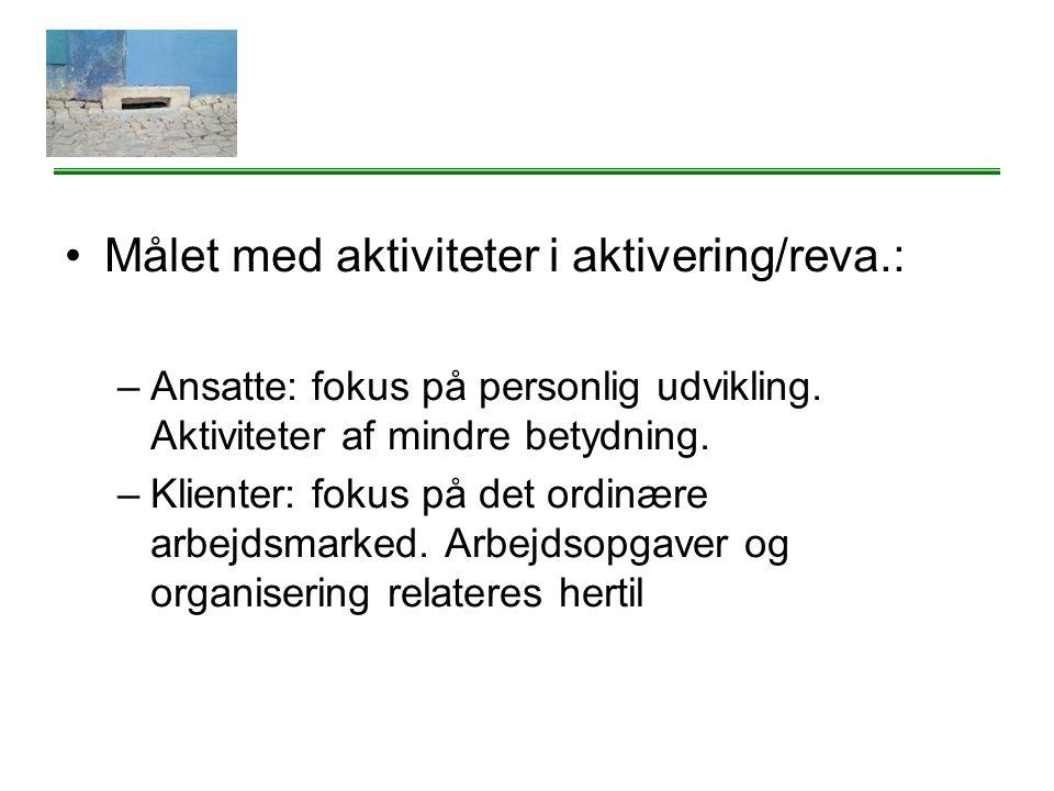 Målet med aktiviteter i aktivering/reva.: