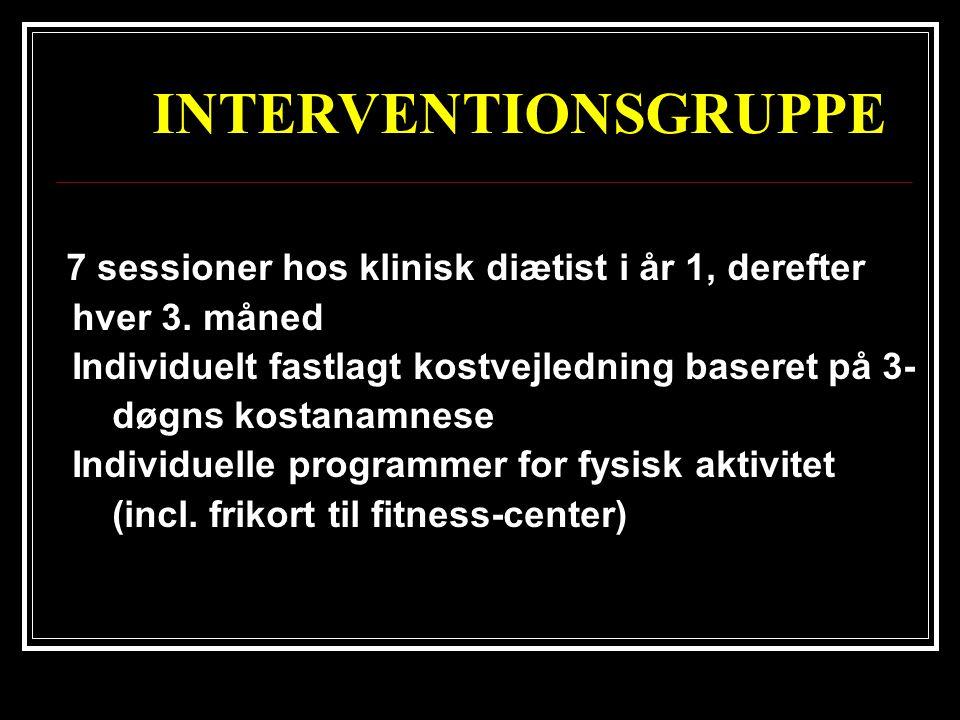 INTERVENTIONSGRUPPE 7 sessioner hos klinisk diætist i år 1, derefter hver 3. måned.