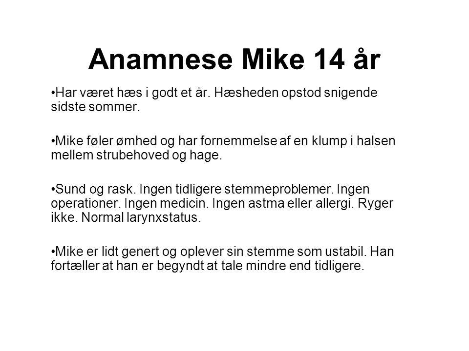 Anamnese Mike 14 år Har været hæs i godt et år. Hæsheden opstod snigende sidste sommer.