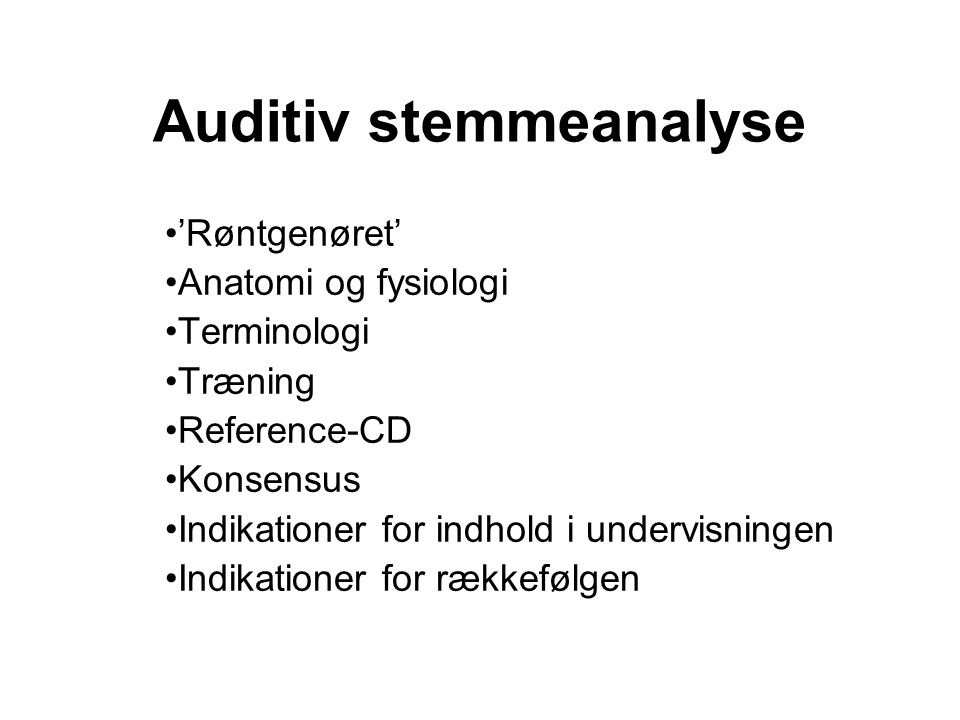 Auditiv stemmeanalyse