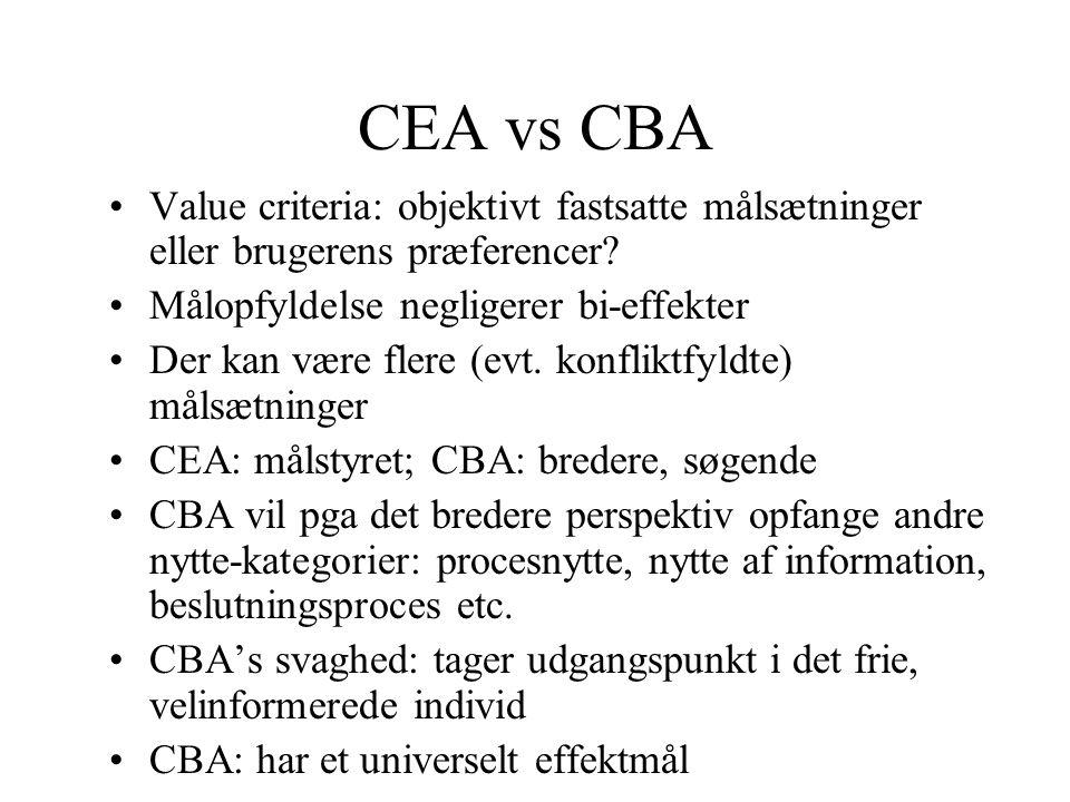 CEA vs CBA Value criteria: objektivt fastsatte målsætninger eller brugerens præferencer Målopfyldelse negligerer bi-effekter.