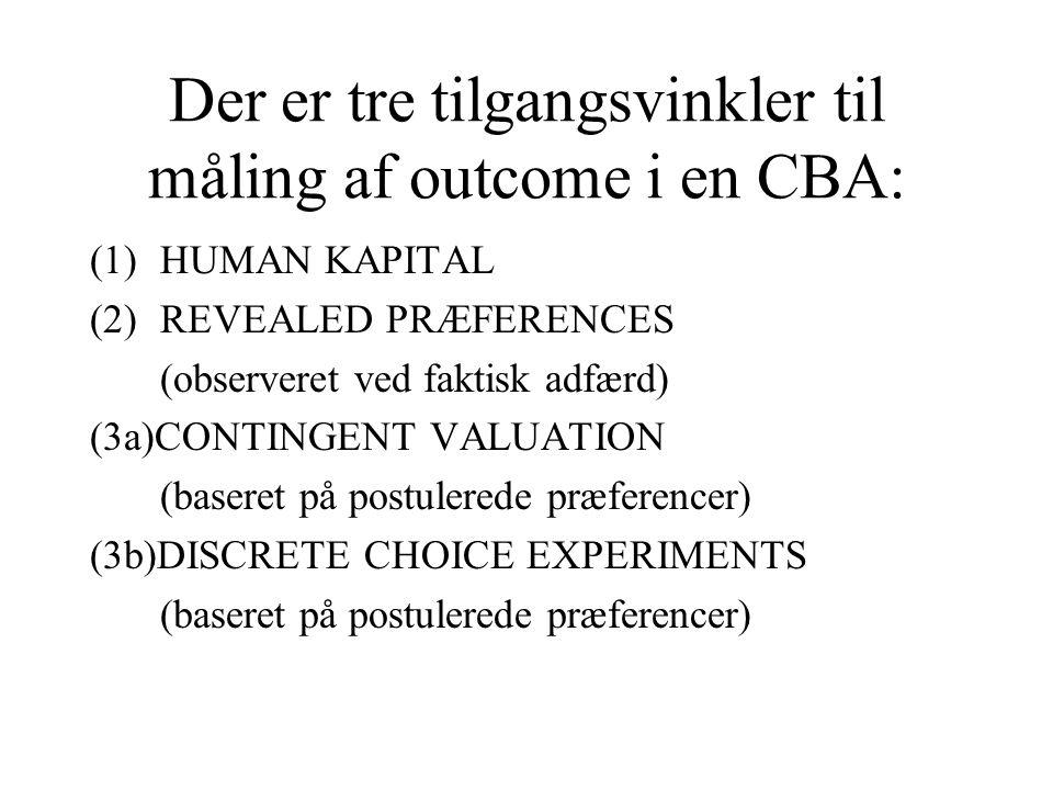Der er tre tilgangsvinkler til måling af outcome i en CBA: