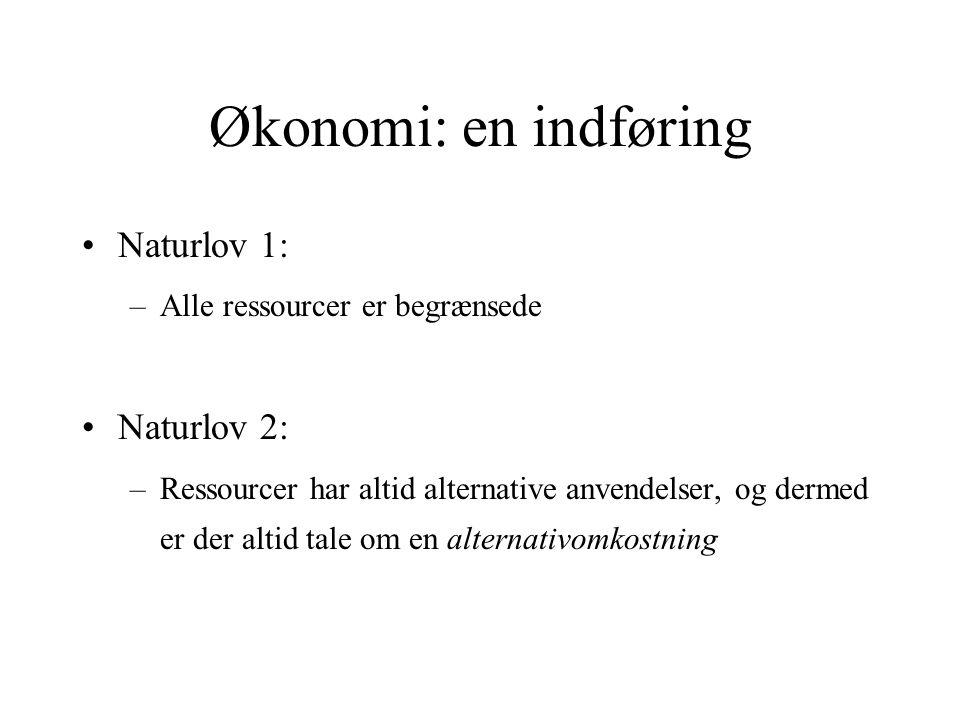 Økonomi: en indføring Naturlov 1: Naturlov 2: