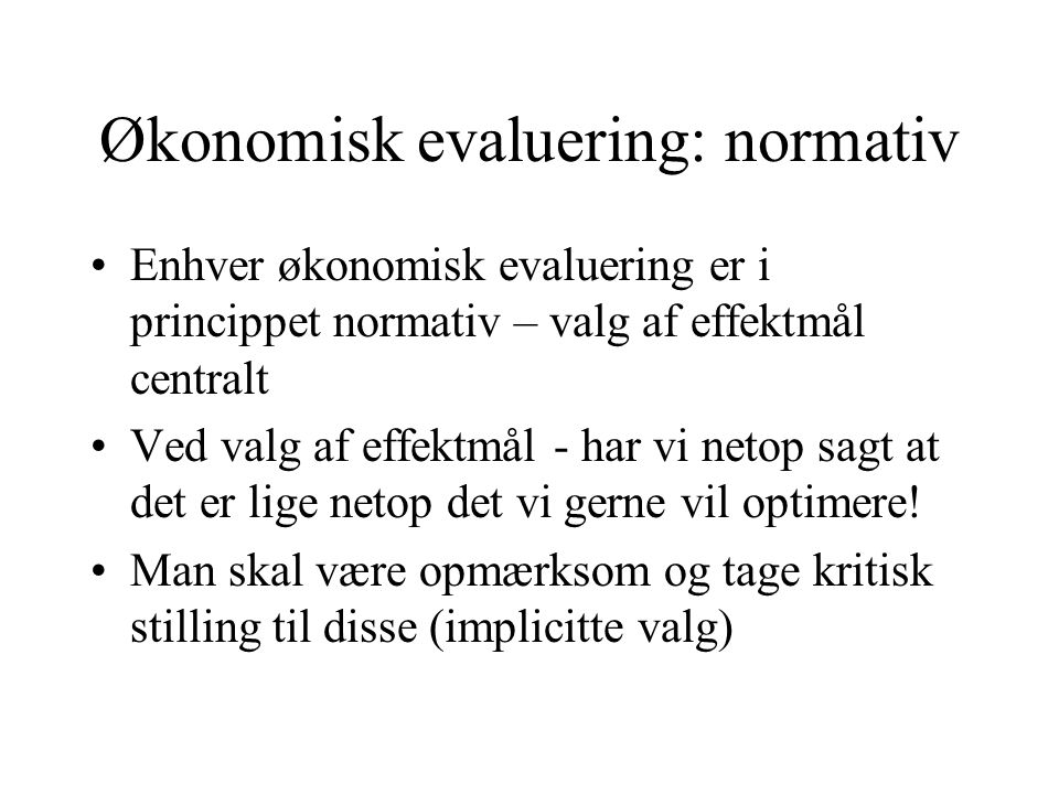 Økonomisk evaluering: normativ