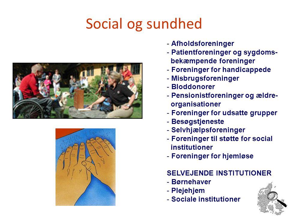 Social og sundhed Afholdsforeninger Patientforeninger og sygdoms-