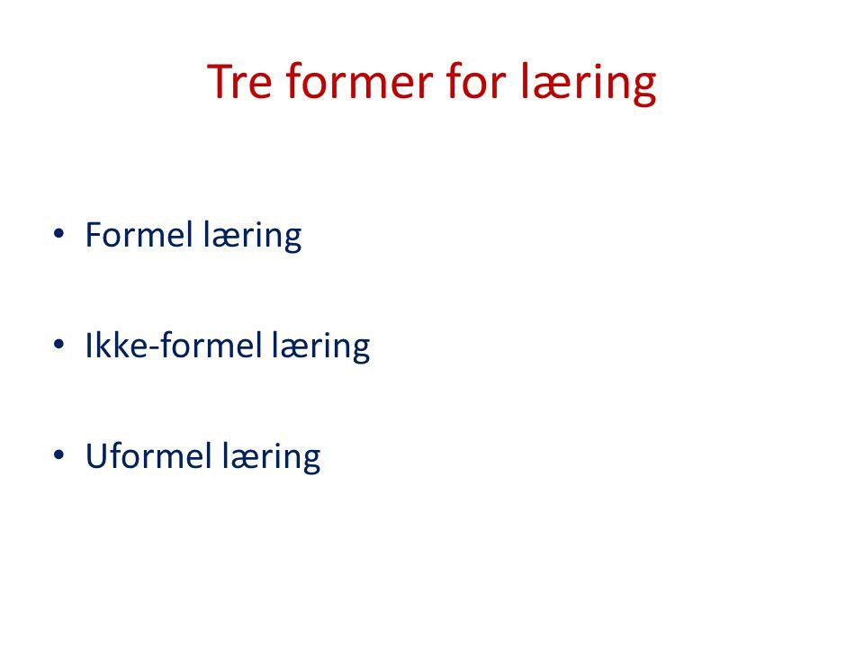 Tre former for læring Formel læring Ikke-formel læring Uformel læring