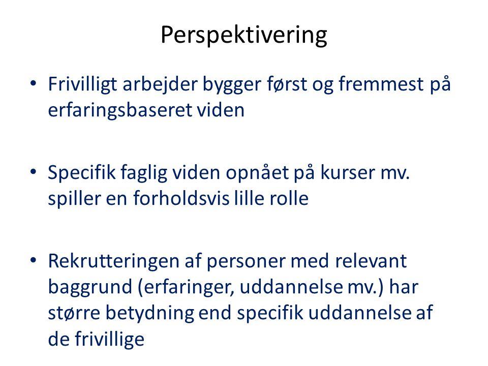 Perspektivering Frivilligt arbejder bygger først og fremmest på erfaringsbaseret viden.