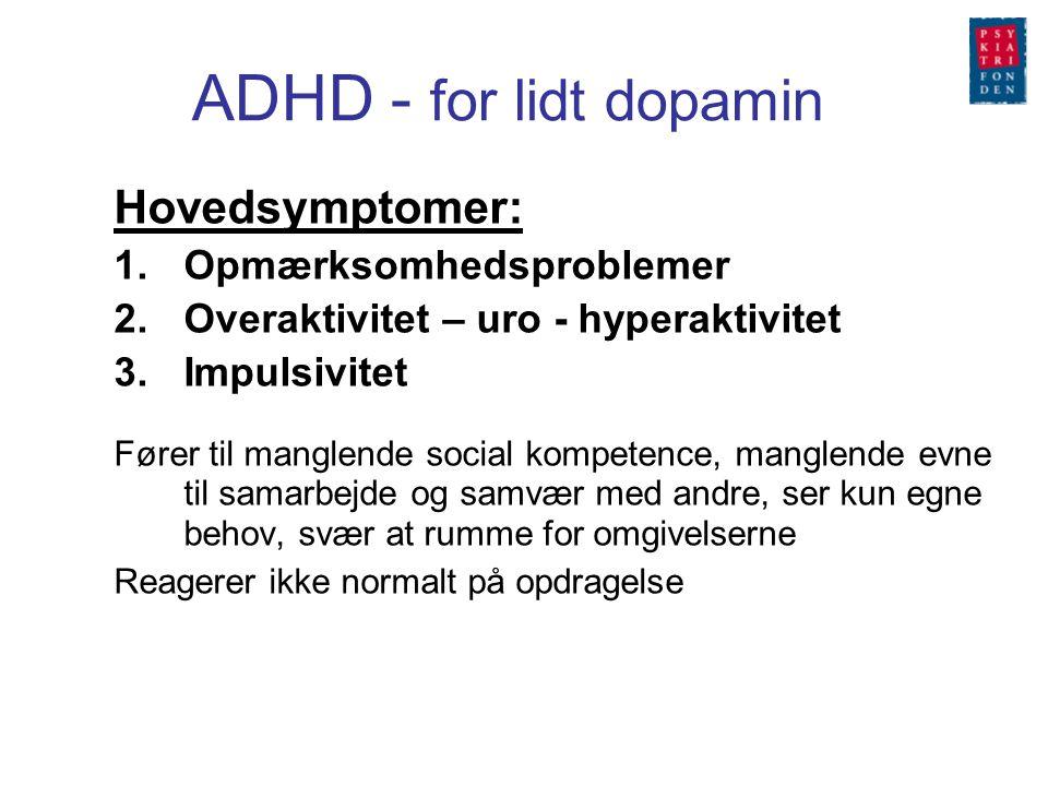 ADHD - for lidt dopamin Hovedsymptomer: Opmærksomhedsproblemer