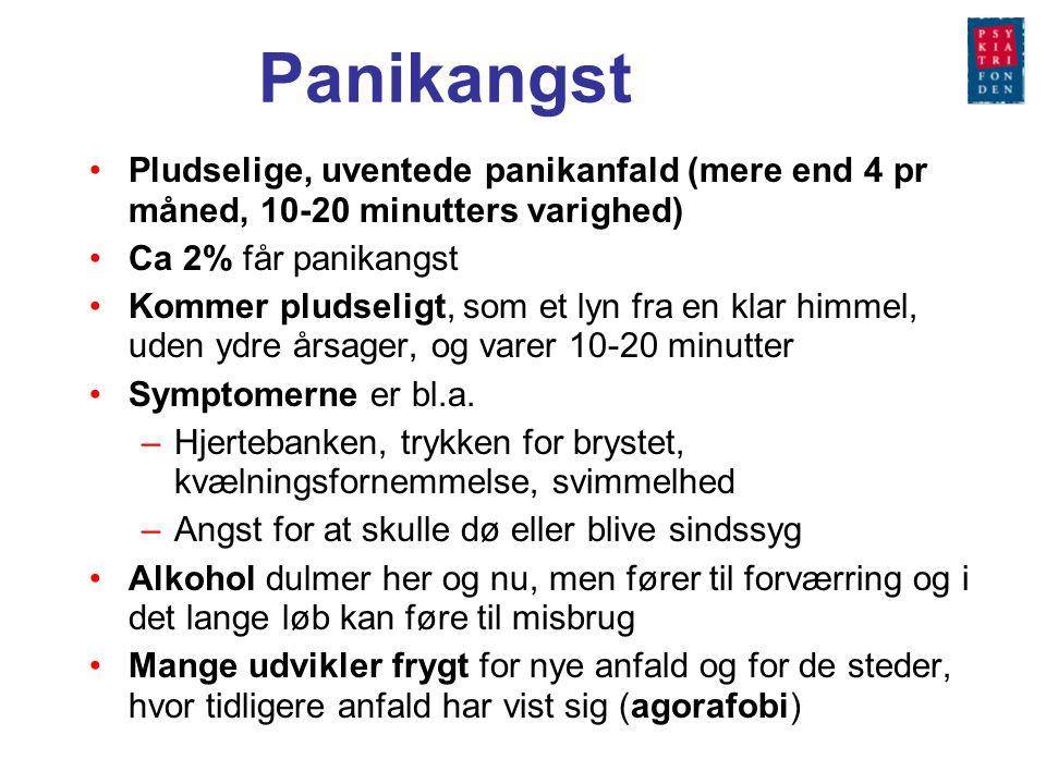 Panikangst Pludselige, uventede panikanfald (mere end 4 pr måned, 10-20 minutters varighed) Ca 2% får panikangst.