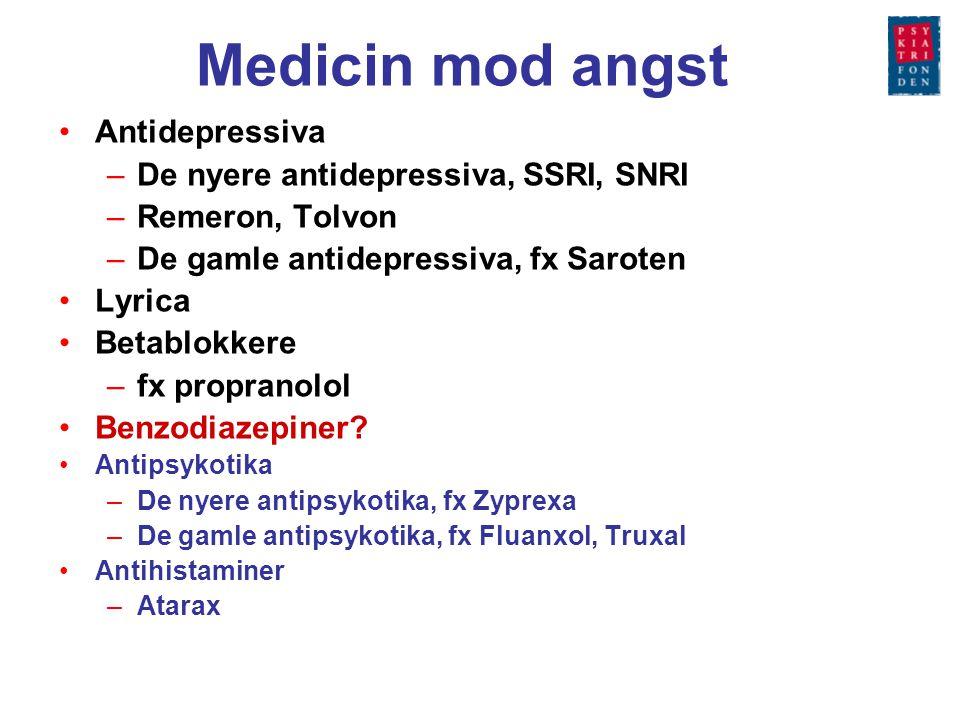 Medicin mod angst Antidepressiva De nyere antidepressiva, SSRI, SNRI
