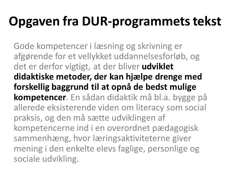 Opgaven fra DUR-programmets tekst