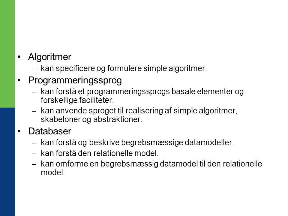 Algoritmer Programmeringssprog Databaser