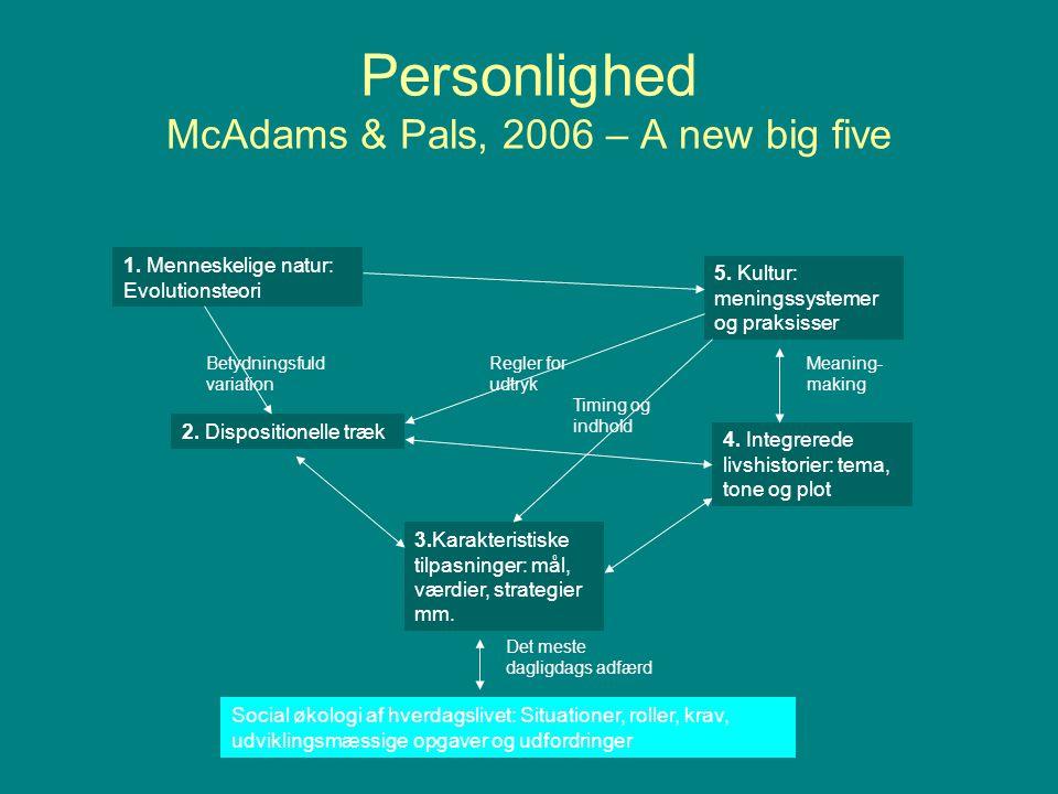 Personlighed McAdams & Pals, 2006 – A new big five