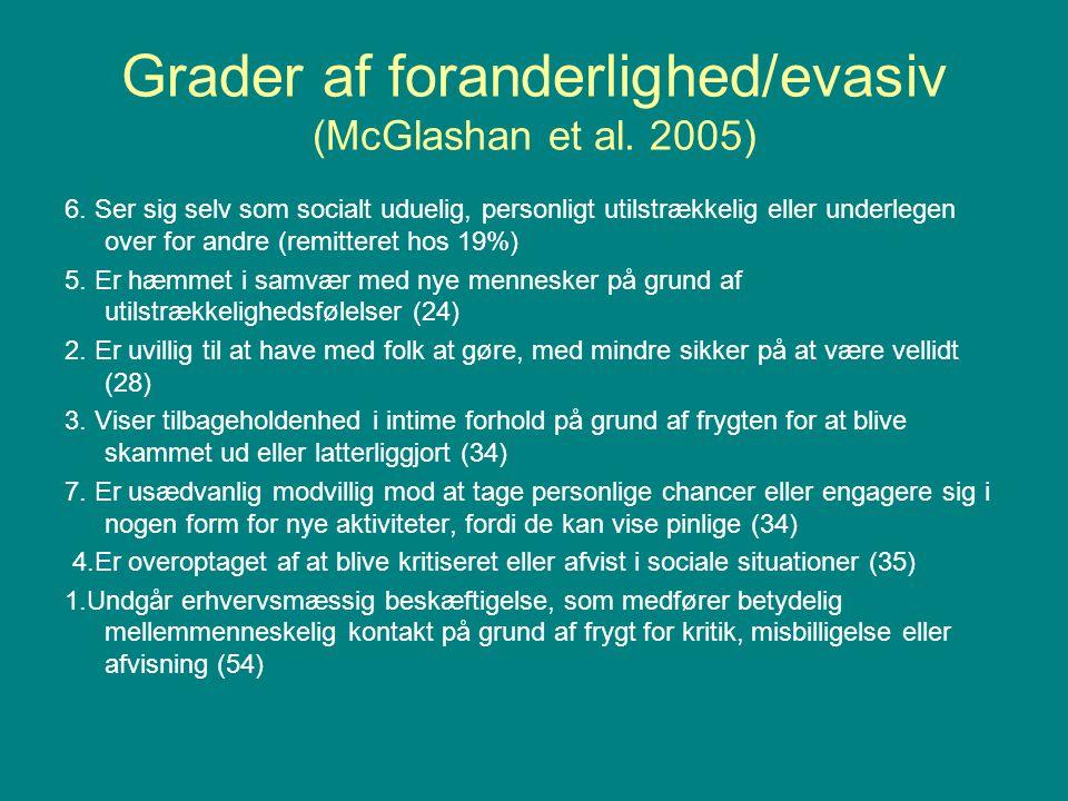 Grader af foranderlighed/evasiv (McGlashan et al. 2005)