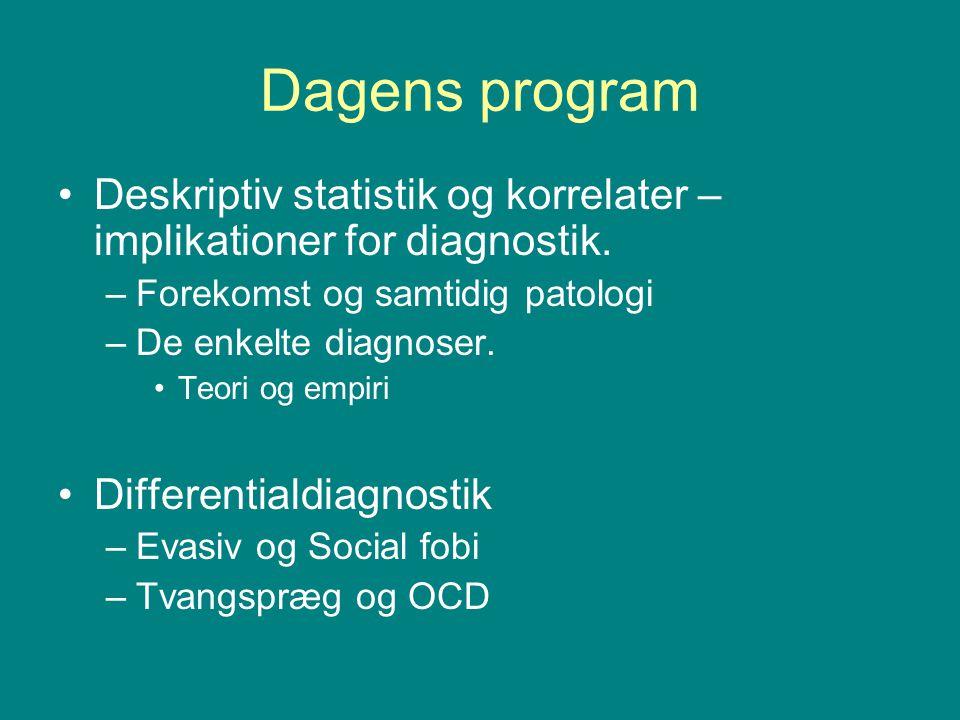Dagens program Deskriptiv statistik og korrelater – implikationer for diagnostik. Forekomst og samtidig patologi.