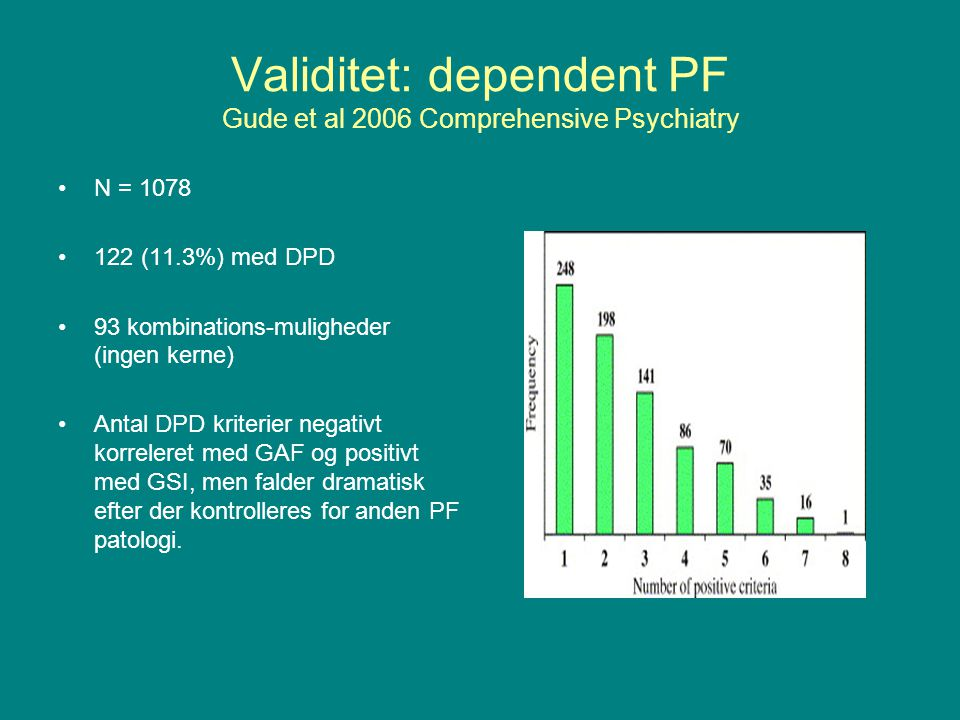 Validitet: dependent PF Gude et al 2006 Comprehensive Psychiatry