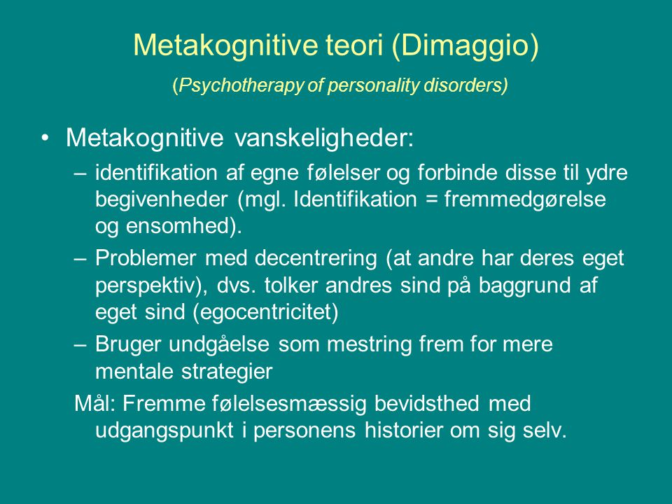 Metakognitive teori (Dimaggio) (Psychotherapy of personality disorders)