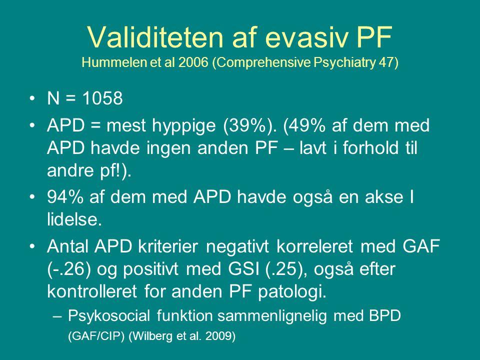 Validiteten af evasiv PF Hummelen et al 2006 (Comprehensive Psychiatry 47)