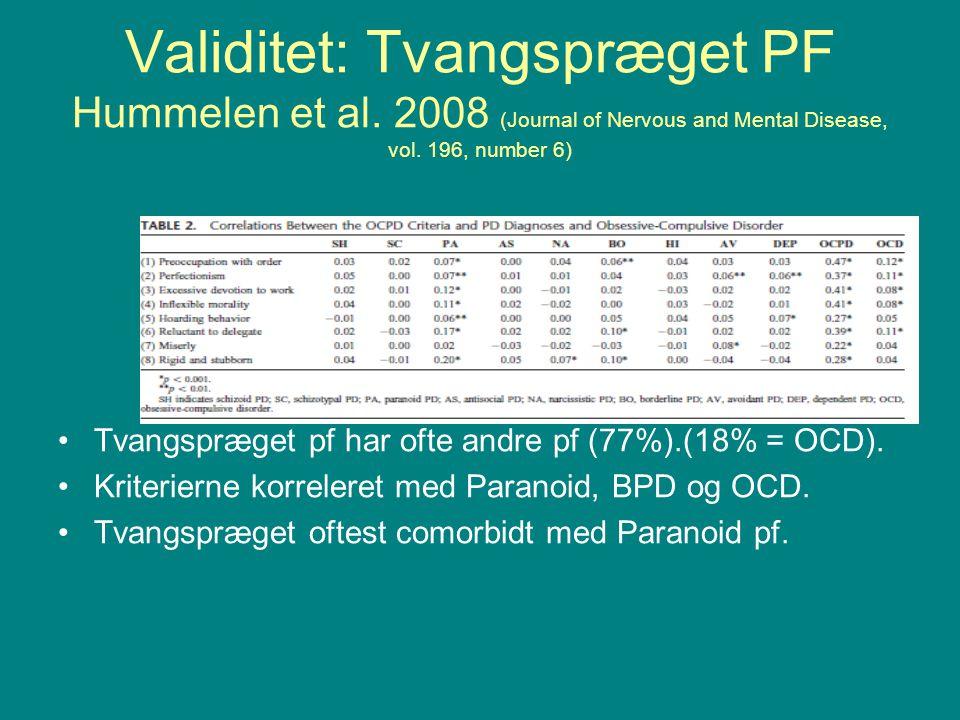 Validitet: Tvangspræget PF Hummelen et al