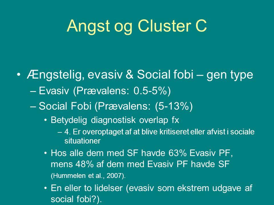 Angst og Cluster C Ængstelig, evasiv & Social fobi – gen type