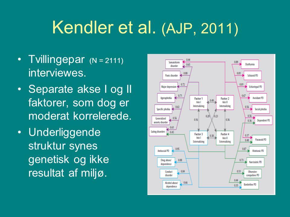 Kendler et al. (AJP, 2011) Tvillingepar (N = 2111) interviewes.