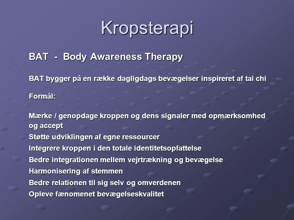 Kropsterapi BAT - Body Awareness Therapy. BAT bygger på en række dagligdags bevægelser inspireret af tai chi.