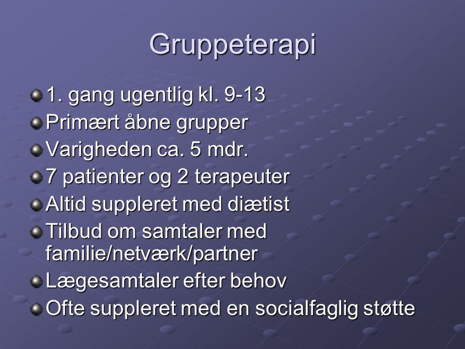 Gruppeterapi 1. gang ugentlig kl. 9-13 Primært åbne grupper